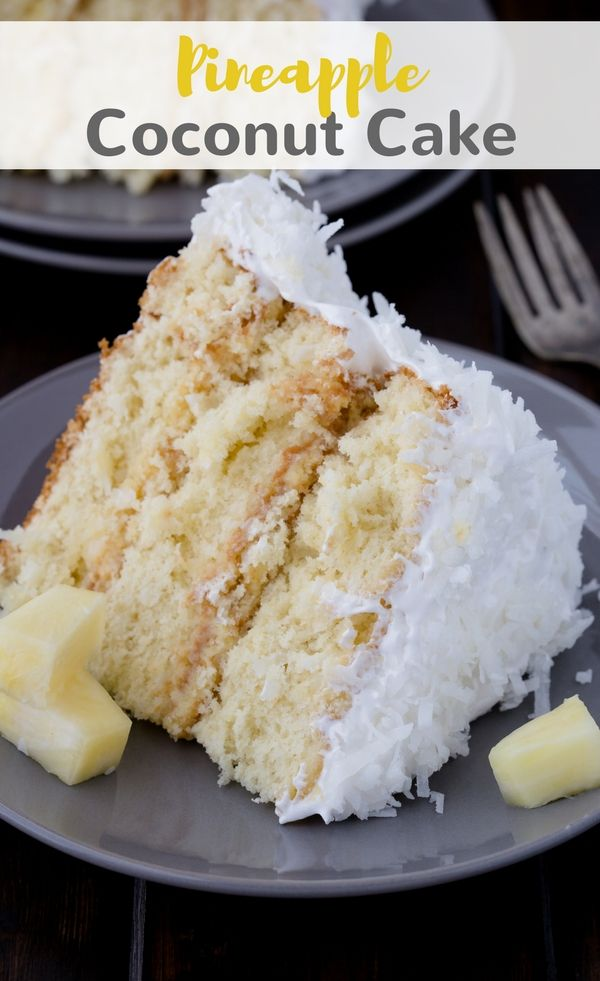 If you are crazy for pineapple and coconut, then this triple layer Pineapple Coconut Cake is for you!  #pineapple #coconut #cake #baking #dessert via @introvertbaker