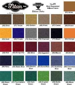 Pool Table Felt Colors Championship Brand!