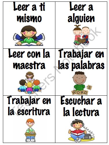Spanish Daily 5 Pocket Chart Labels (Diariamente 5). A great way for students to visually see what their options are for centers or where they should be at.