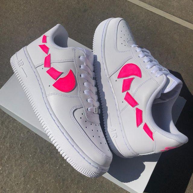 AF1 destroyed swooshes NEON Pink in 2020 | Custom sneakers