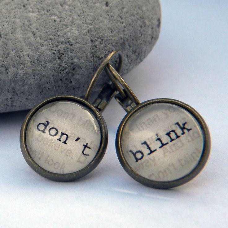 Doctor Who Earrings - Word Earrings  - DON T BLINK  - --  TImE MACHINE AgEd  -   WiBBly   Wobbly, tImeY Wimey - Tardis, Dalek,. $13.00, via Etsy.