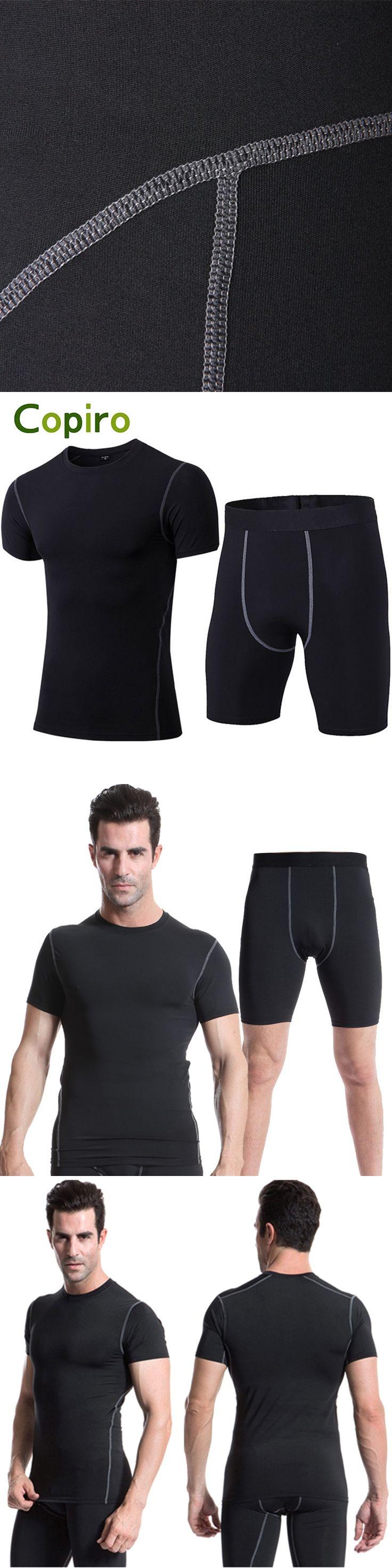 Copiro Compression Set Running Men Short Tight Training Tracksuits Quick Dry Jogging Homme Survetement Football Sport Suit