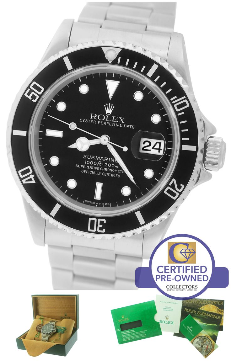 MINT Men's Rolex Submariner Date 16610 Stainless Black 40mm Dive Swiss Watch