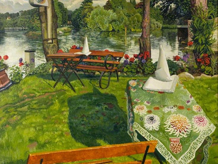 """Stanley Spencer, """"The Ferry Hotel Lawn, Cookham"""" (1936). First Known When Lost"""