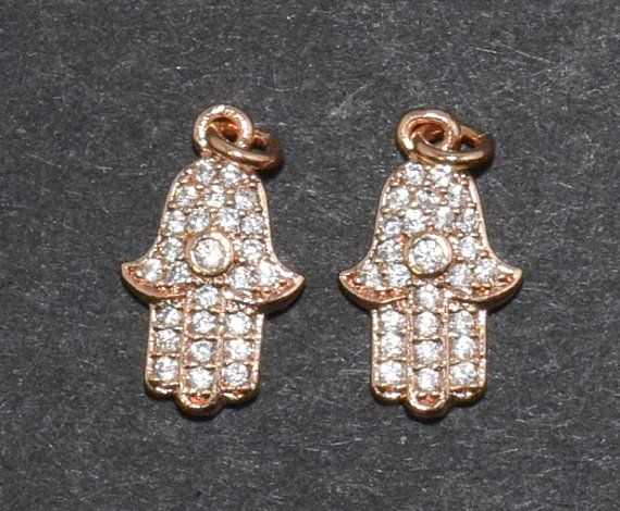 Cubic Hamsa Pendant, Jewelry Supplies, Jewelry Making, Polished Rose Gold - 1pcs / UT0005-RG