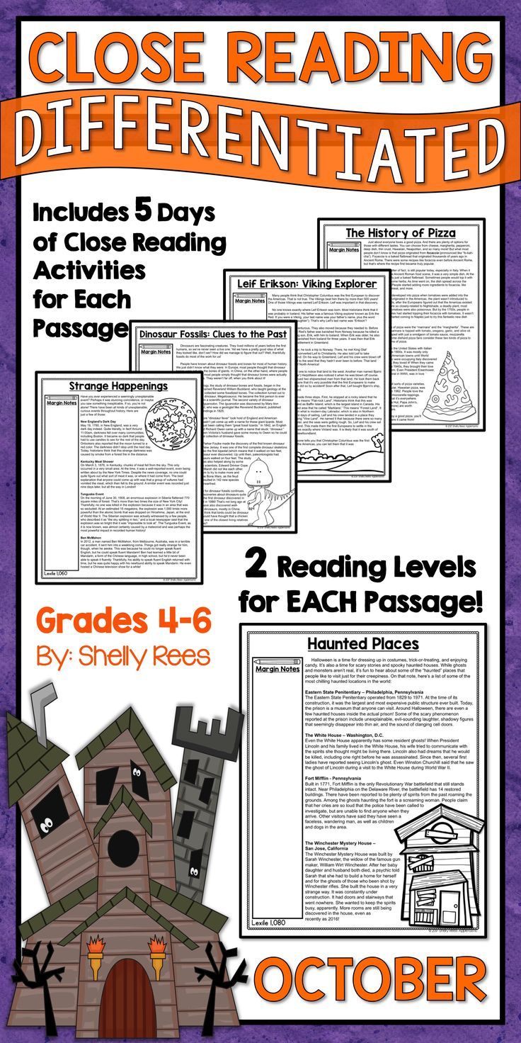 Close Reading Passages and Activities for the Month of October are fun and interesting for 3rd, 4th, 5th, 6th, and 7th grade students in elementary and middle school. Differentiated passages, Close Reading steps & strategies, graphic organizers, and annotation guides make this the complete close reading toolbox and kit for classroom teachers! History of Pizza | Leif Erikson | Dinosaur Fossils | Haunted Places | Strange Happenings