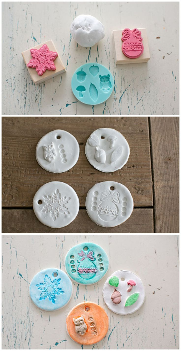 Personalized ornaments for kids - Easy Stamped Clay Ornaments Kids Can Make These Make Adorable Personalized Holiday Ornaments For The