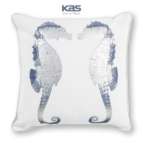 A cordial seahorse greeting graces the Silver Seahorses pillow. It's an accent piece that's sure to get you compliments. http://www.kasrugs.com/product/details/PILL30218SQ | #ColorWithKAS #HomeDecor #Style #InteriorDesign #Decor #Pillows #Seahorse #Seahorses #Pillow