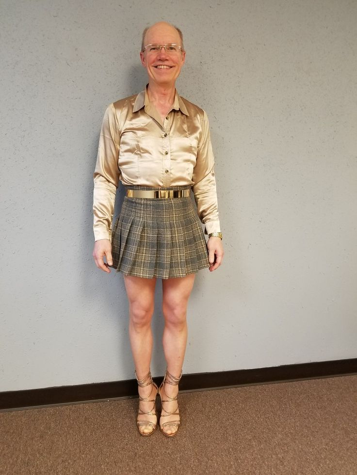 Brown and tan pleated mini skirt (AliExpress), gold silk satin shirt (AliExpress), gold metal belt (AliExpress), Hanes little color thigh high stockings, gold  Steve Madden Flaunt sandal high heel stiletto shoes (DSW).