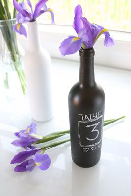 use chalk paint to customize the bottle for any holiday/event. and fill with coordinating flowers or items to make it different each day