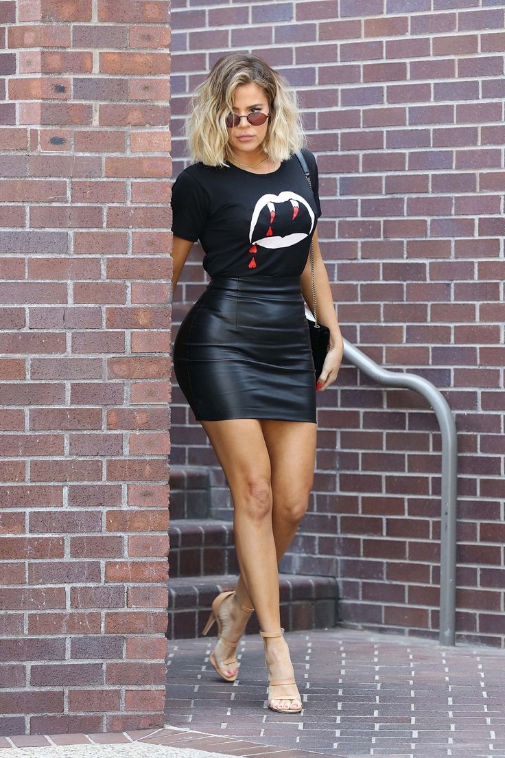 Leather skirt T shirt Nude shoes