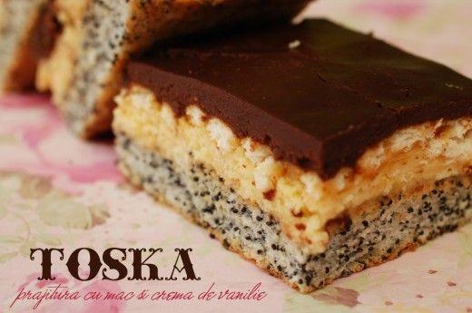 Prajitura Toska – cu mac si crema de vanilie