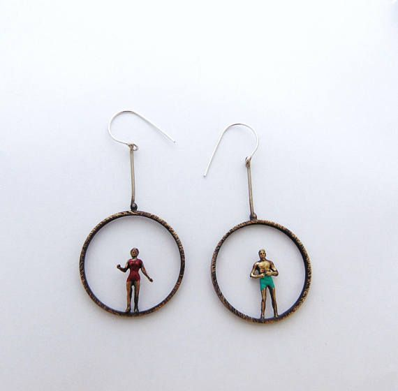Swimmers Circles Earrings Swimsuit Earrings Swimwear Figures
