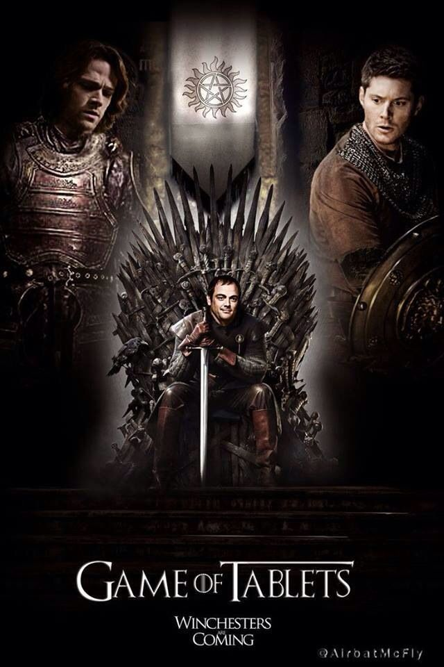 I'm amused that every time I see a GoT/Supernatural crossover it has Crowley on the Iron Throne.