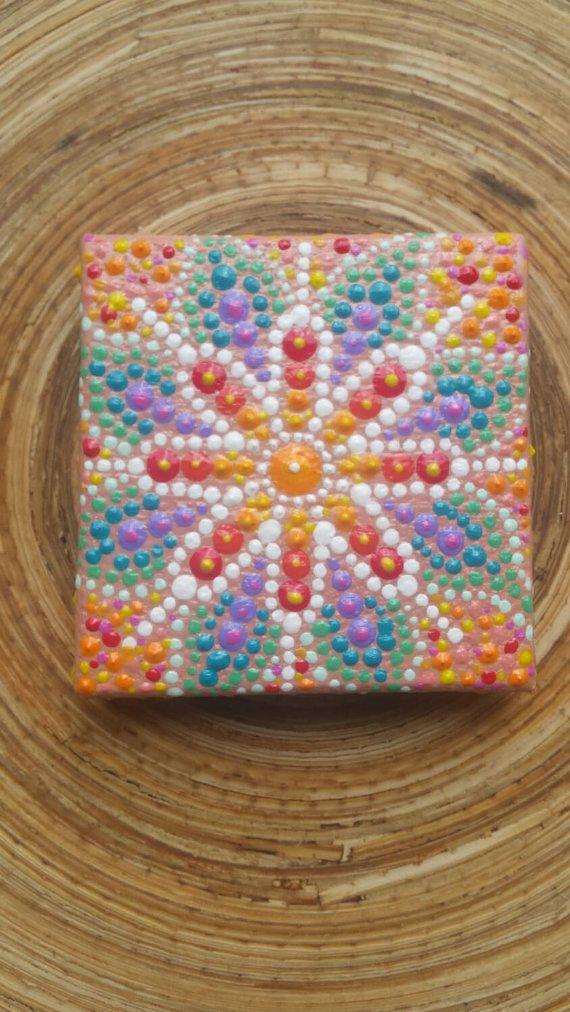 Energized Jewel drop mini mandala painting by ArtsOfAnanda on Etsy