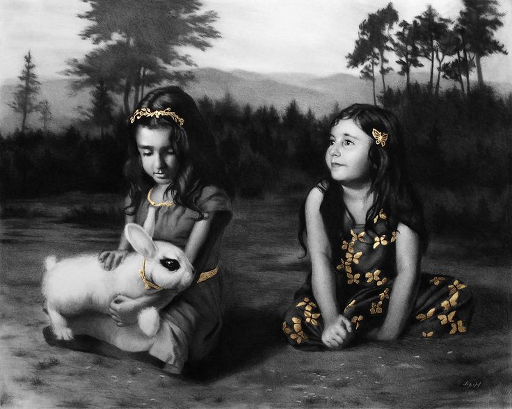 """Ava and Emma 24"""" x 30"""" Gold Leaf and Carbon  Pencil on Paper www.jphfinearts.net  Another piece that took a very long time to complete. I always tell myself I'm going to work smaller, and then in the planning stage the drawing gets bigger and bigger and the final product takes me weeks to finish. The result in this one is great though, I don't think it would have been as good if it were half the size.  #figuredrawing #figure #figurepainting #gold #goldleaf #charcoal #classicalrealism…"""