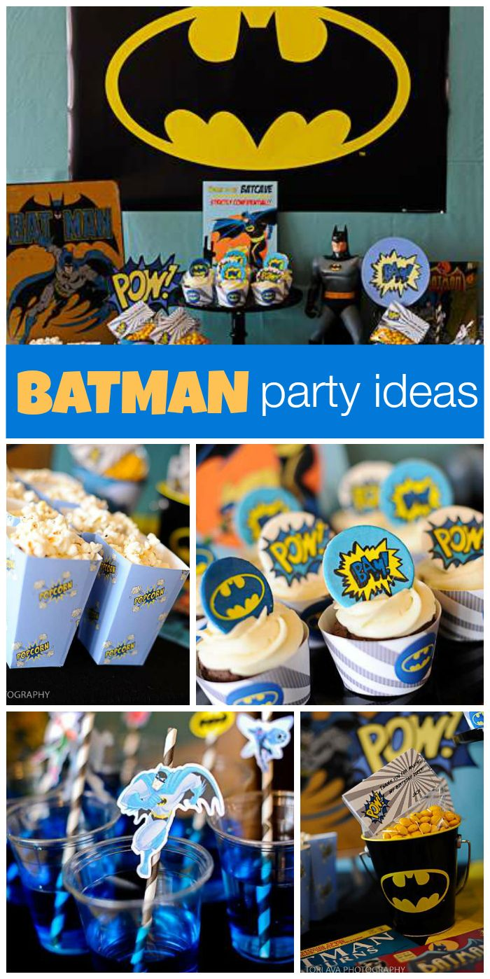 Odd Squad Party Ideas - What a fun batman boy birthday party with blue black and yellow decorations cupcakes