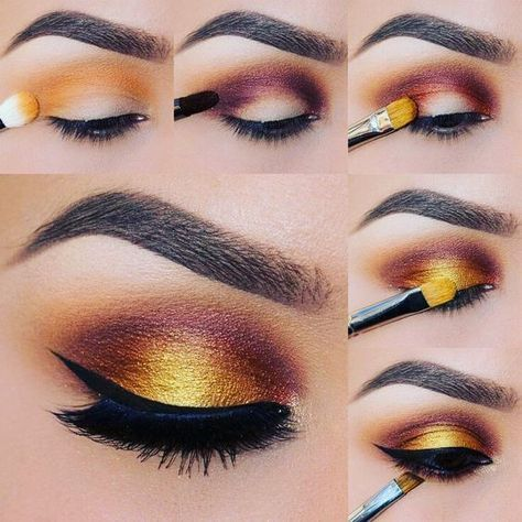 Gold and brown eyeshadow tutorial! Follow Treceefab for more