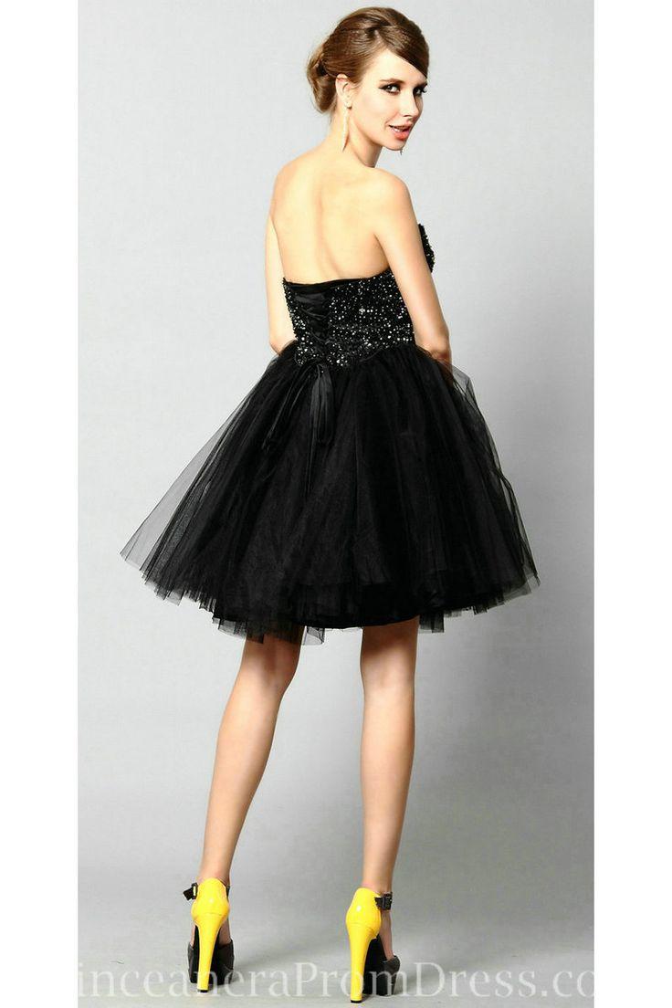 Cute Beaded Sweetheart Short Black Cocktail Dresses for Juniors