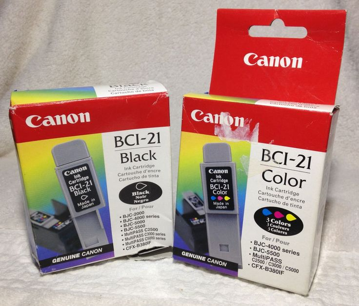Two Canon Printer Ink Cartridges - #BCI-21 - Color & Black - New in Box #Canon