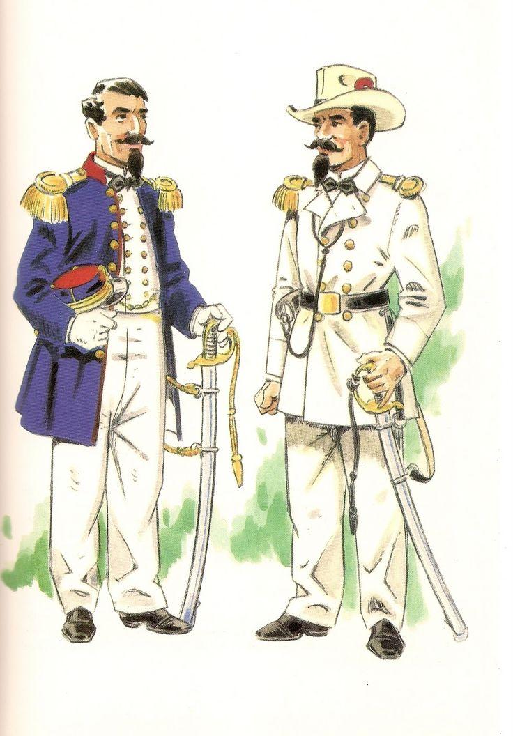 COMPAÑIA DE INFANTERIA DE FERNANDO POO,1858 Capitan en uniforme de gala -Teniente en un...