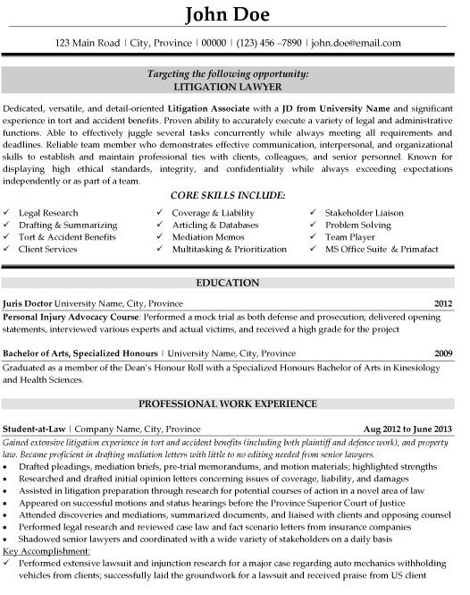 9 Best Best Legal Resume Templates & Samples Images On Pinterest
