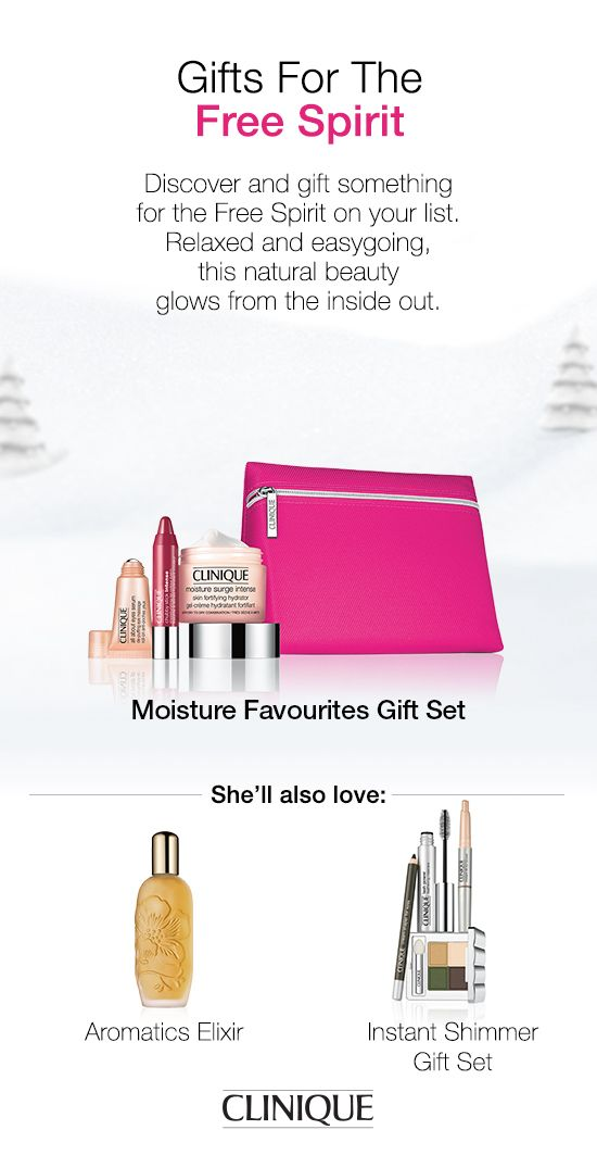 The Free Spirit in your life will love #Clinique's Moisture Favourites Gift Set, which includes Moisture Surge Intense Skin Fortifying Hydrator,  All About Eyes De-Puffing Eye Massage, and #ChubbyStick Intense Moisturizing Lip Colour Balm in Roomiest Rose. #Gifts #Beauty #Makeup #Skincare Cosmetics Bag