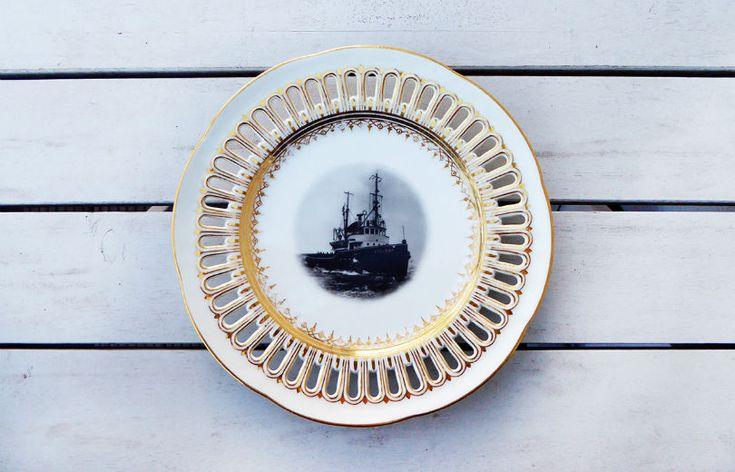 Wand und DekoTeller Vintage Schiff Wandteller Rand gold 19,5cm Unikat Herr Fuchs