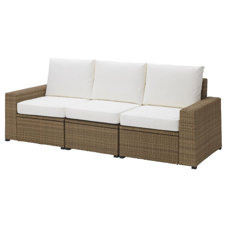 SOLLERÖN, 3er-Sofa/außen, braun, weiß Jetzt bestellen ...