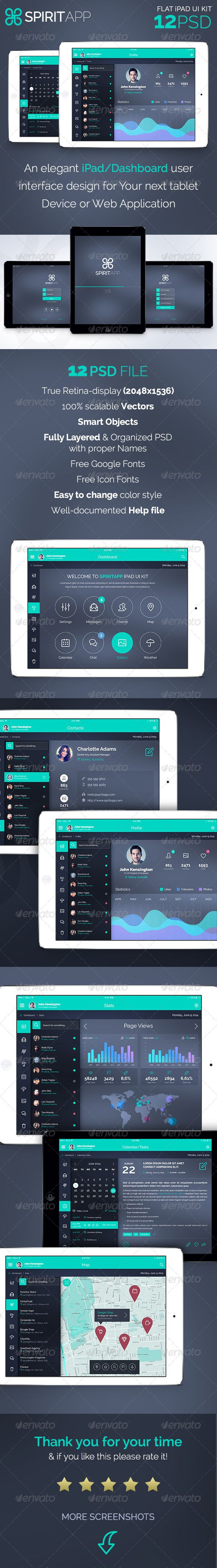 SpiritApp - Flat iPad App UI Kit Template PSD #design Download: http://graphicriver.net/item/spiritapp-flat-ipad-app-ui-kit/7979770?ref=ksioks