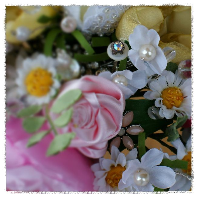 wedding bouquet for Michelle - blossom and daises with precut petals, covered and beaded button centres and pearl centres