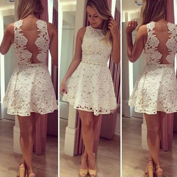 Stylish Lady Womens Cocktail Party New Fashion Backless Sleeveless O-neck Dress