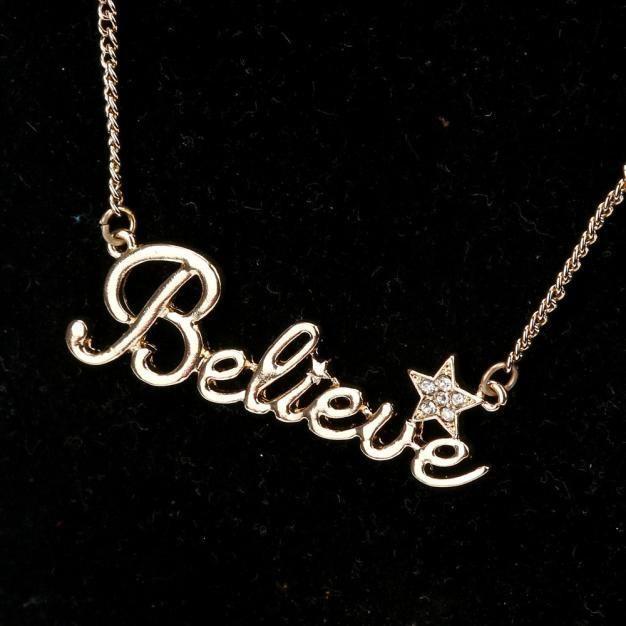 Ladies Gold Alloy Letter Pendant Believe Necklace.