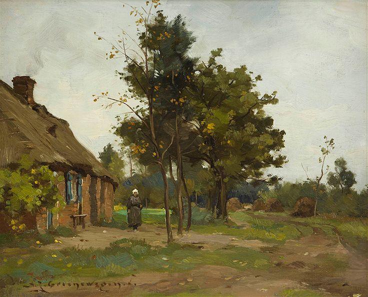 """https://www.facebook.com/MiaFeigelson """"Woman in a farmhouse"""" """"Vrouw bij een boerderij in een landschap """" By Adrianus Johannus Groenewegen (AJ Groenewegen) from Rotterdam, Netherlands (1874 - 1963) - oil on canvas; 24 x 30 cm - Private Collection"""