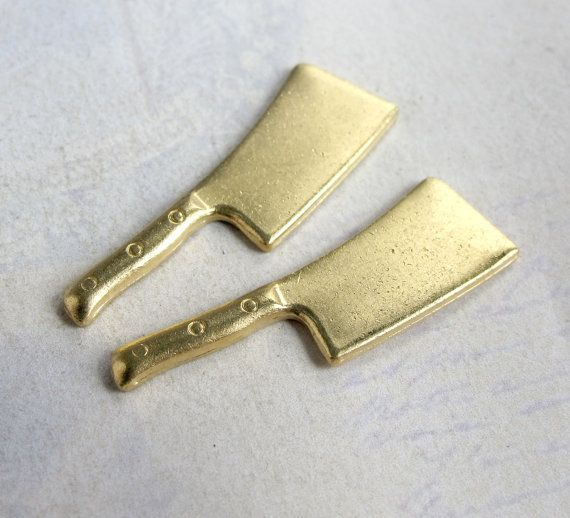 Brass Meat Cleaver Charms 2X M766 by EpochBeads on Etsy