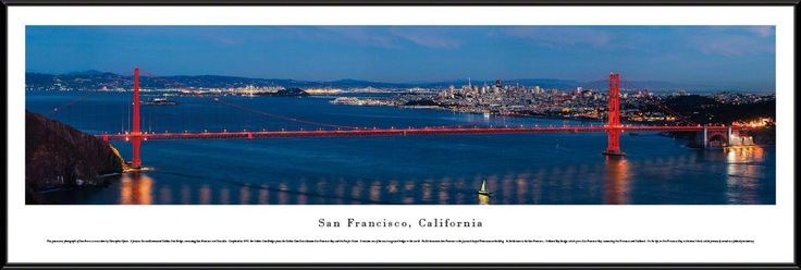 San Francisco, California City Skyline Panoramic Picture Framed