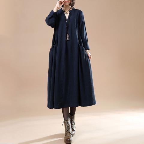 Autumn Large Size Women's Casual Long Sleeve Cotton Linen Navy Blue Dress