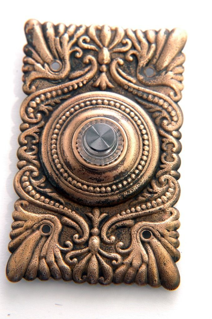 Antique Victorian Doorbell Push Button With Light Brass