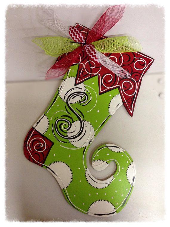 Stocking door hanger,Christmas door hanger,Christmas door decor,wooden door hanger,elf stocking,christmas wreath, Cyber monday on Etsy, $30.00