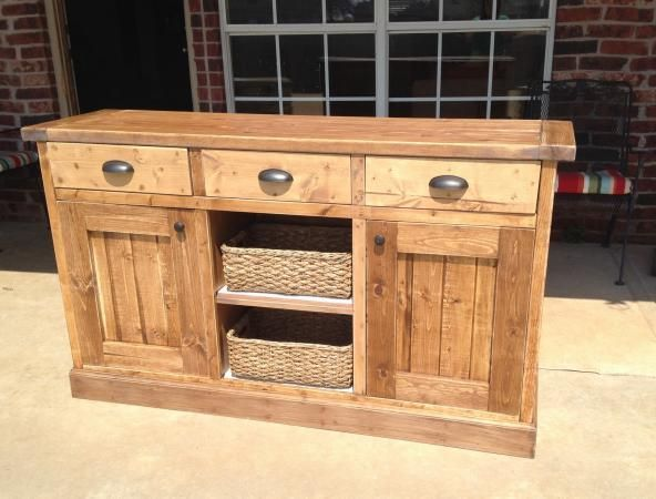 I can't believe that this sideboard is DIY!!!  Not to mention a first project while she was six months pregnant!   Amazing! Free project plans woodworking sideboard reclaimed rustic buffet build ana-white.com
