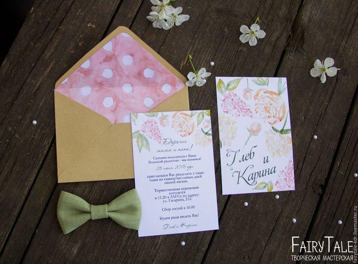 """Купить Приглашение на свадьбу """"Весеннее"""" - комбинированный, приглашение, пригласительные, свадебная полиграфия, свадебные приглашения, акварель"""
