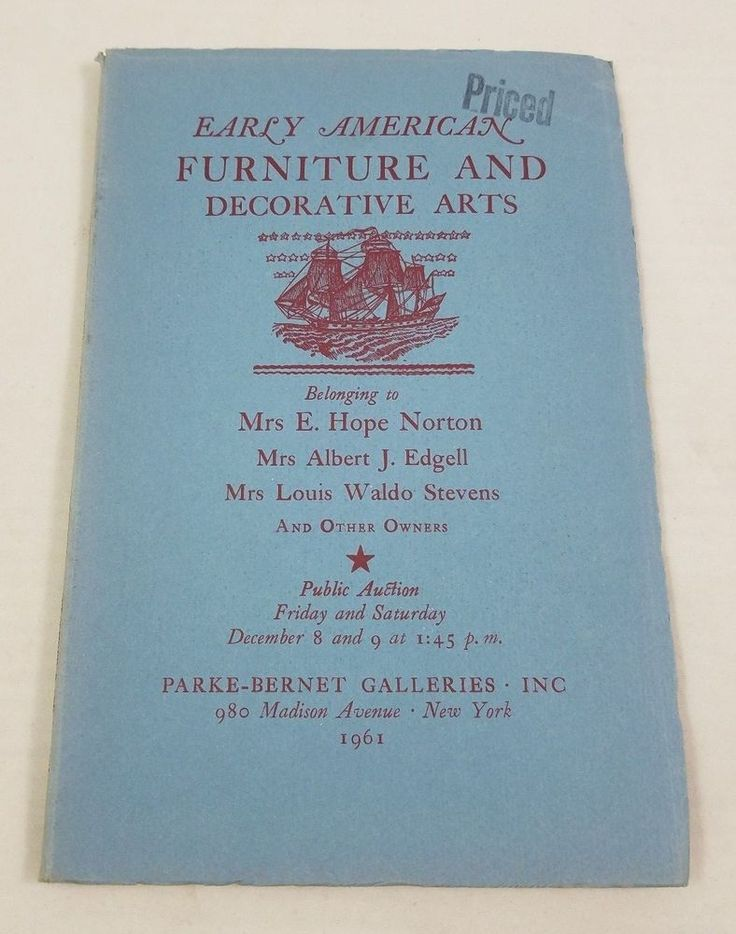 Early American Furniture and Decorative Arts Parke-Bernet Auction Catalog 1961