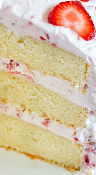 Fresh Strawberry Cake #cake