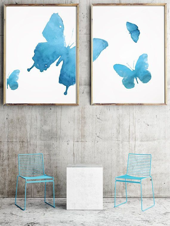 Set of 2 Butterfly Watercolor Abstract Blue Poster Fly Art by LadyWatercolor | Etsy #watercolor #butterfly #blue #insect #fly #wing #print #art #set #cute #baby #nursery #paint #abstract #poster