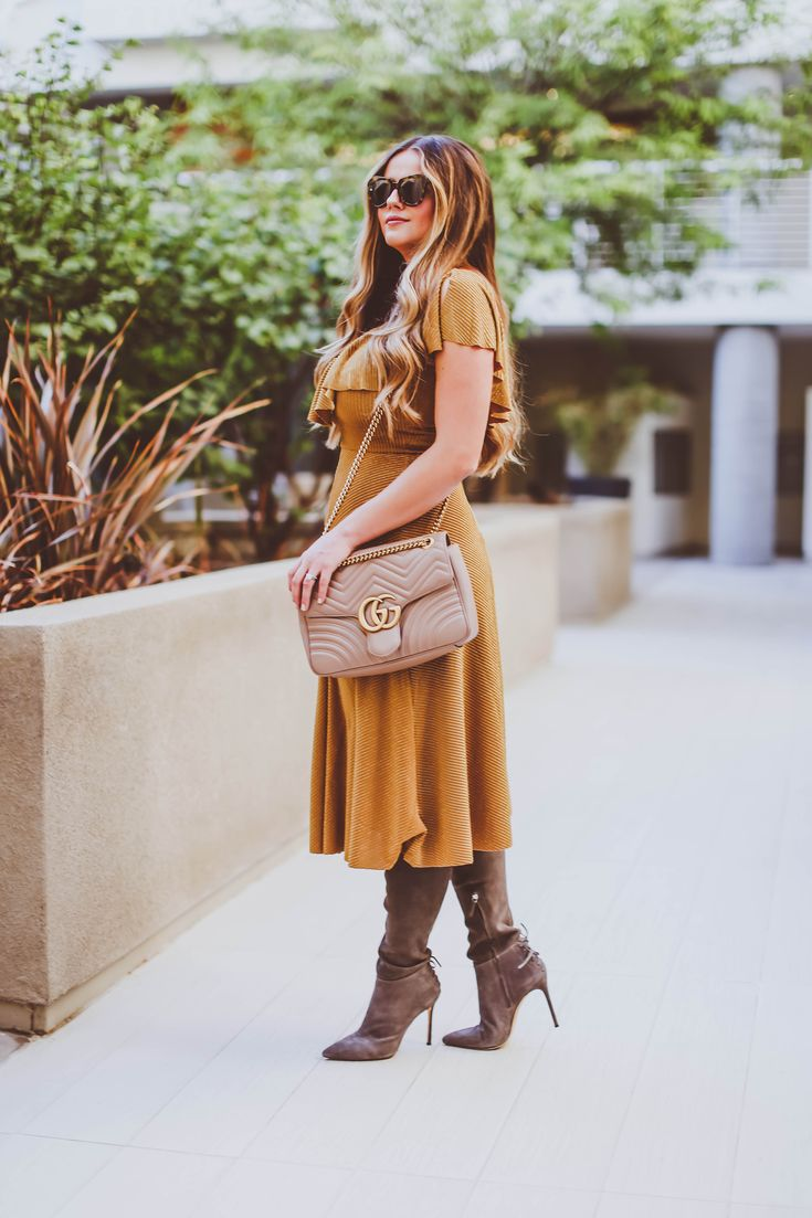 1795d14ffb9  OOTD    Mustard Yellow Metallic Midi Dress   The Sexiest Thigh-High Boots  Ever