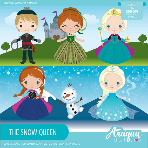 The Snow Queen Clipart Set.  ::::::::::::::::::::::::::::::::::::::::::::::::::::::::::::::::::::::::::::::::  Perfect for party decoration, scrapbooking