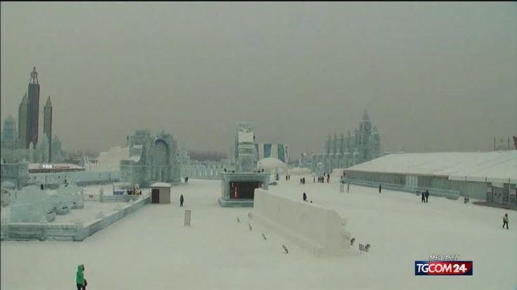 Cina, castelli di ghiaccio tra la  neve