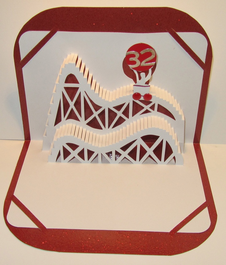 BIRTHDAY 3D Pop Up ROLLER COASTER Greeting Card Home by BoldFolds, $30.00
