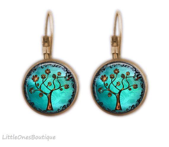 Copper Tree Lever back Earrings Australia by BoutiqueLittleOnes. #blue #earrings #tree