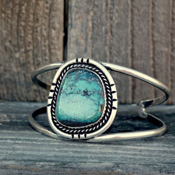 Vintage Sterling Silver Bracelet Single Turquoise by TobesOutpost, $175.00
